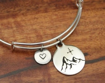 Mountain Bangle Bracelet - The Mountains Are Calling And I Must Go - Wanderer Gift - Traveler Gift -  Hiker Gift - Rock Climber Gift - I/B/H