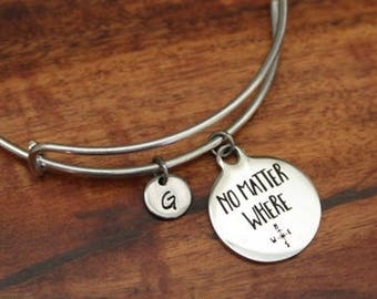 No Matter Where Bangle Bracelet - Long Distance Bangle - Moving Away Gift - College Gift - Compass Bangle - I/B/H
