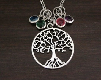 Tree Necklace - Tree Jewelry - Family Tree Jewelry - Personalized Gift - Family Necklace - Family Tree Necklace - Family Initials - Bst/In