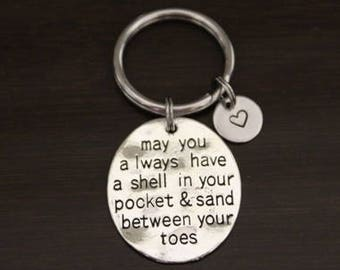 May You Always Have a Shell in Your Pocket & Sand Between Your Toes Key Ring/ Keychain / Zipper Pull - Beach Lover - Ocean Lover - I/B/H