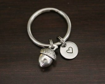 Personalised gift silver acorn charm keyring choose your charms