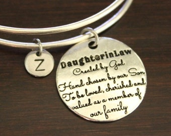 ec645683a8d Daughter in Law Bangle - New Daughter In Law - Daughter in Law Bracelet -  Daugher in Law Saying Gift - Daughter in Law Jewelry - I B H