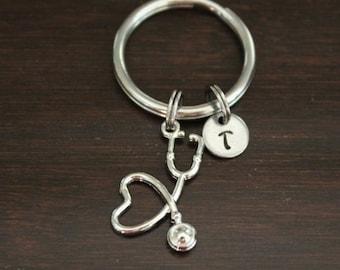 Nursing Monogram Stethoscope Keychain
