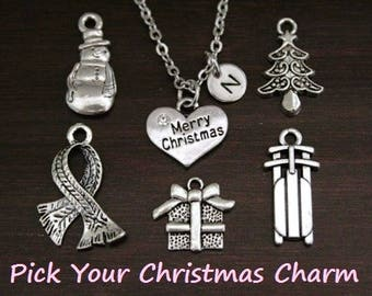 Christmas Necklace - Snowman Necklace - Scarf Necklace - Present Necklace - Christmas Tree Necklace - Sled Necklace -Winter Necklace - I/B/H