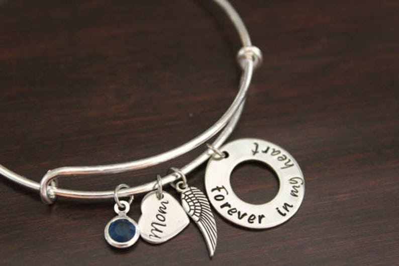 Memorial Bangle Forever in my Heart Mother Memorial Hand Stamped Bangle Mom in Heaven Mom Memorial Bangle Birthstone Angel