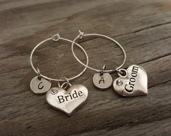 Bride and Groom Wine Glass Charm - Wine Charm - Wedding Wine Glass Ring Charm - Bride and Groom Gift - Wedding Day - Initial