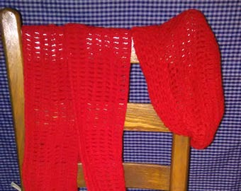 Crocheted Red Hat and Scarf Set