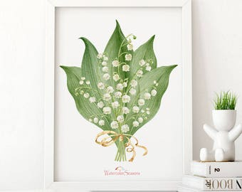 Lily Of The Valley Print Wall Art Download Watercolor Hand Painted Clipart Floral Nursery Printable Home Decor Spring Flowers
