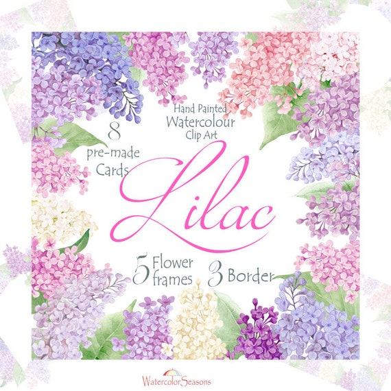 Watercolor lilac frames borders pre made cards branch and etsy image 0 m4hsunfo