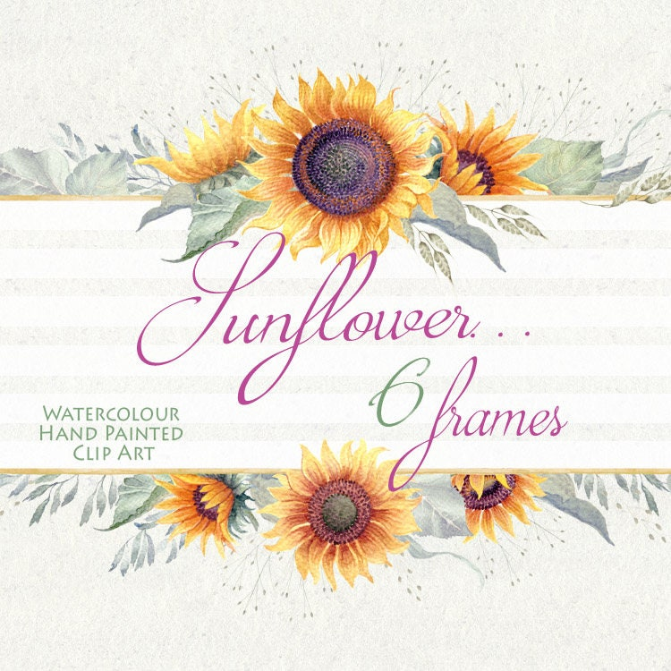 Watercolor Flower clipart Sunflower... frames Hand painted ...
