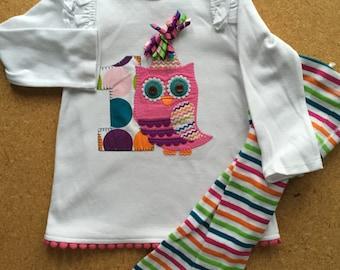 1st Birthday Owl Shirt and Striped Tight, Onesie Cupcakes, Birthday Gift