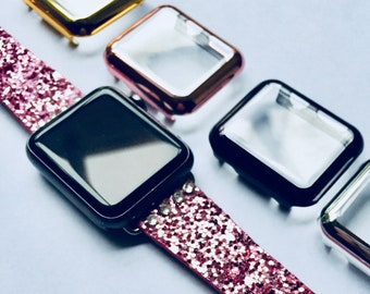 Glitter Apple Watch Band 38mm 42mm ELEVATE The Swarovski Crystal Elevate Band PINK (Or Silver, Gold, Black, Blue/Purple) Womens Bling iWatch