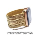 Spun Gold Fabric ELASTIC Apple Watch Band STRETCH 38mm 42mm 40mm 44mm iWatch Strap 38 42 40 44 Band #9 - Spun Gold Elastic TimeKitsUSA