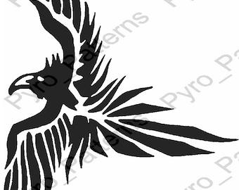 Pyrography Wood Burning Eagle Bird Pattern Printable Stencil Etsy