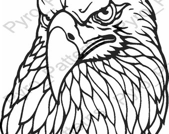 Pyrography Wood Burning Eagle Head Bird Pattern Printable Stencil Instant Download Pyro Patterns Birds 0718