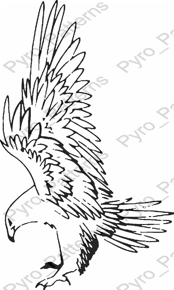 Pyrography Wood Burning Eagle Bird Pattern Printable Stencil Etsy