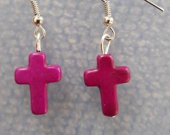 Cross Earrings (magenta)