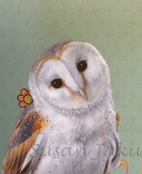 Barn Owl Painting Owl Art Barn Owl Print Of Original