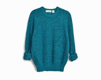 Vintage Marled Blue Raglan Sweater / Men's Crewneck Sweater / 90s Vintage Sweater - men's xl