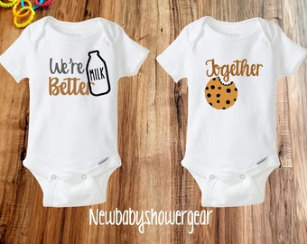 8b9321965686 Funny Onesies® - Best Friends Onesies - Twin Onesies - Milk and Cookie  Onesies - Twins Baby Onesies® -Cute Twins Gift- Best Friends outfit