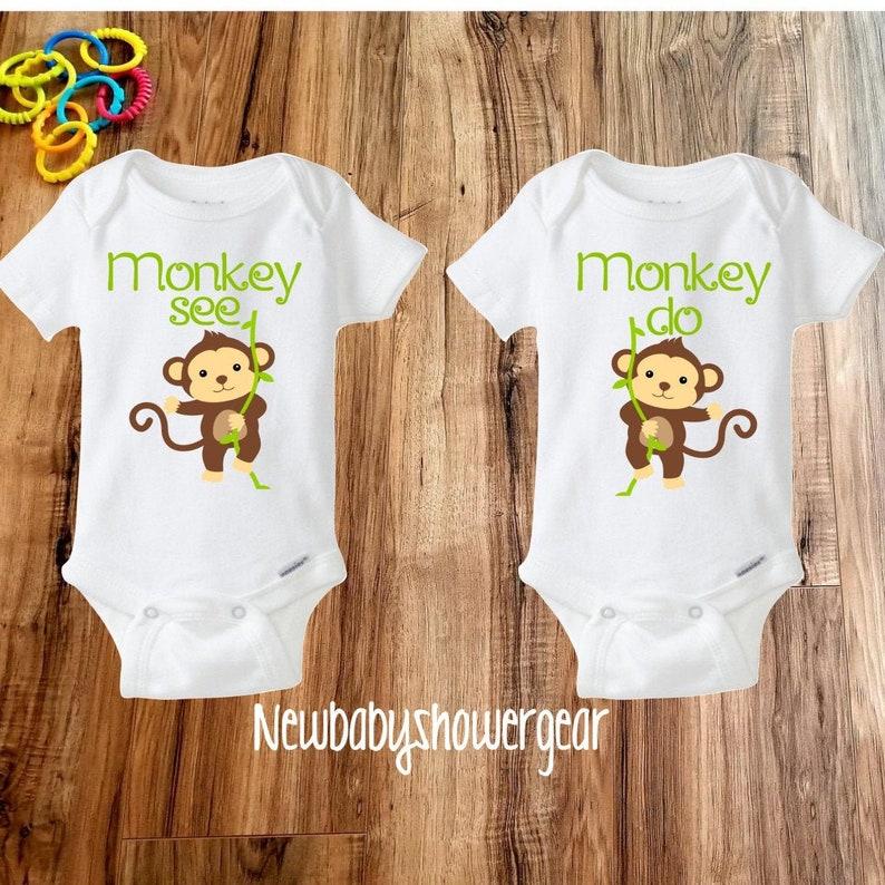 Twin Baby gift Monkey Onesies\u00ae Best Friend Onesies\u00ae Twin Onesies\u00ae Twin Baby Onesies\u00ae Twin gift Funny Twin Onesie\u00ae Cute Twin Onesies\u00ae