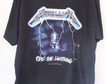 d14c6e8f Mens Metallica Official Licensed t-shirts Black S-XL ride the lightning