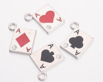 8pcs-2 sided Playing Cards Spade charm Poker charm,game charm,party charm