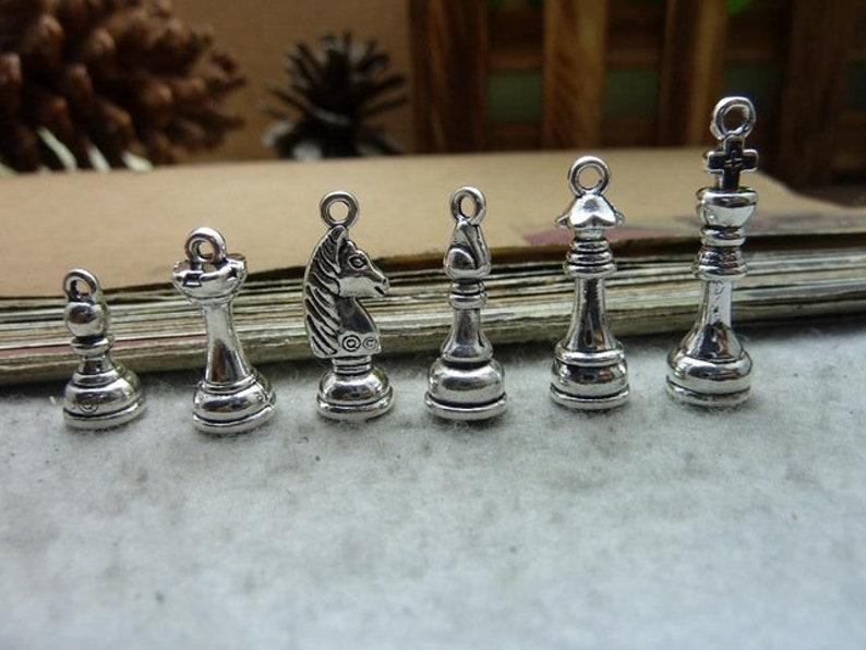 Set of 6 Chess Charms Chess Charm Set Chess Jewelry Board Game Charms