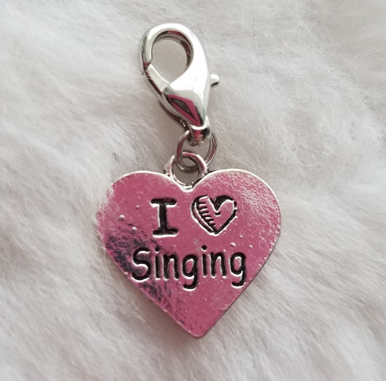 Package of 15 Ready to Wear BULK I Love Singing Charm- Clip-On