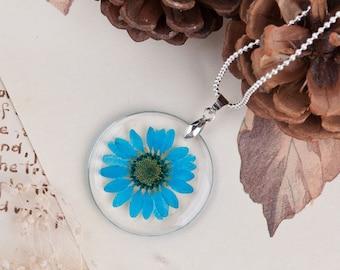 Blue Daisy Pendant   Real Flower Pendant   FREE Chain   Daisy Jewelry   Daisy Charm   Blue Flower Jewelry   Flower Charm   Statement Pendant