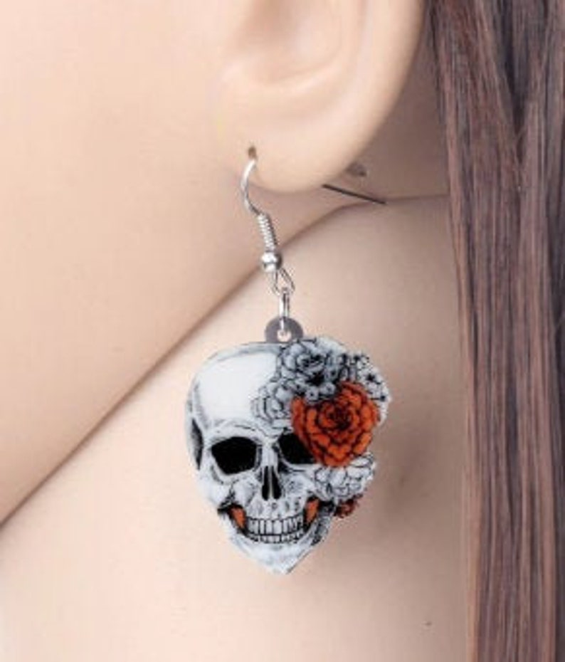 Skull with Roses  Adorable  Lightweight Dangle Earrings image 0
