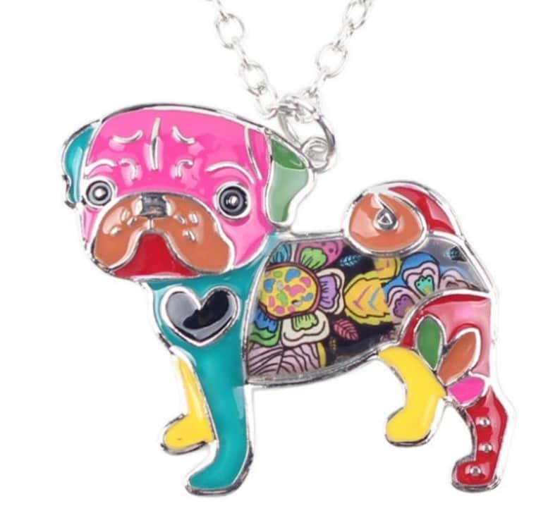 Enamel Pug Pendant with FREE 20 Chain  Pug Life  Gift image 0