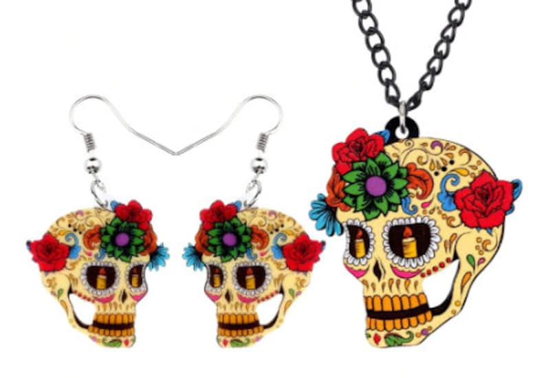 Sugar Skull Jewelry  Necklace and Dangle Earrings  Dia de image 0
