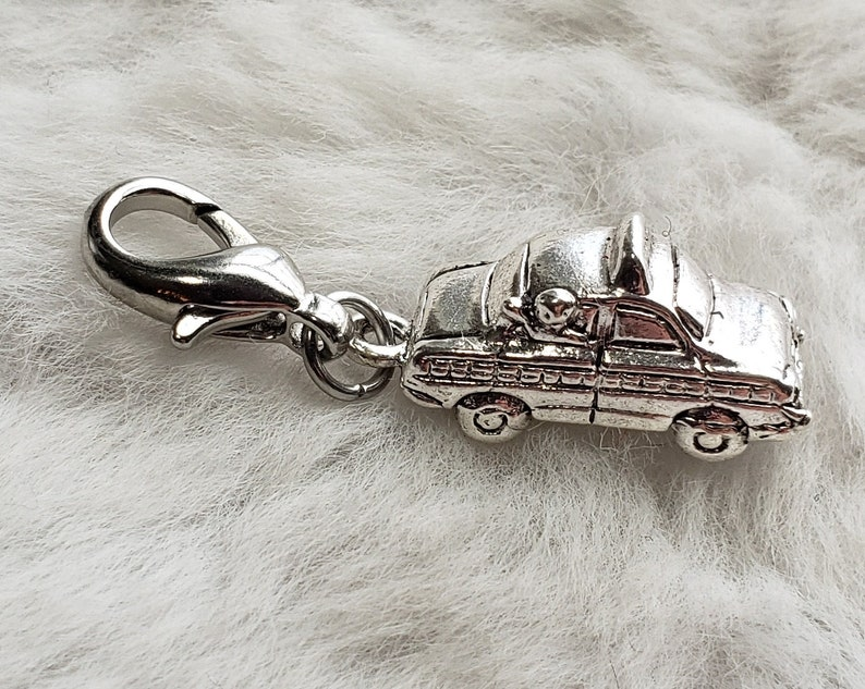 Taxi Cab Charm  Clip-On  Ready to Wear Sterling Silver image 0