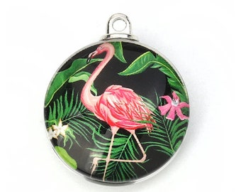 Glass Flamingo Pendant   Flamingo Gift   Tropical Bird Pendant   Key West Charm   Florida Charm   Jewelry Supply   Gift for Crafter