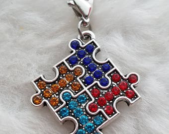 Rhinestone Puzzle Piece Autism Awareness Charm - Clip-On - Ready to Wear