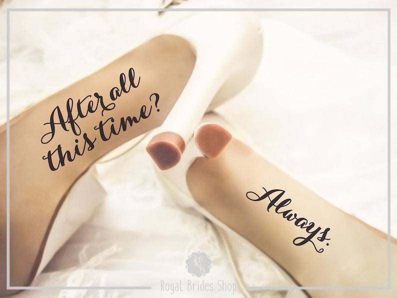 Bruiloft schoenen Decals  na al die tijd altijd  bruiloft Script
