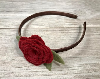 Burgundy Felt Rose Headband