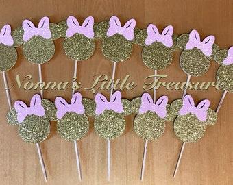 12 Minnie Mouse Cupcake ToppersMinnie BirthdayPink And Gold BirthdayFirst BirthdayMinnie Decorations
