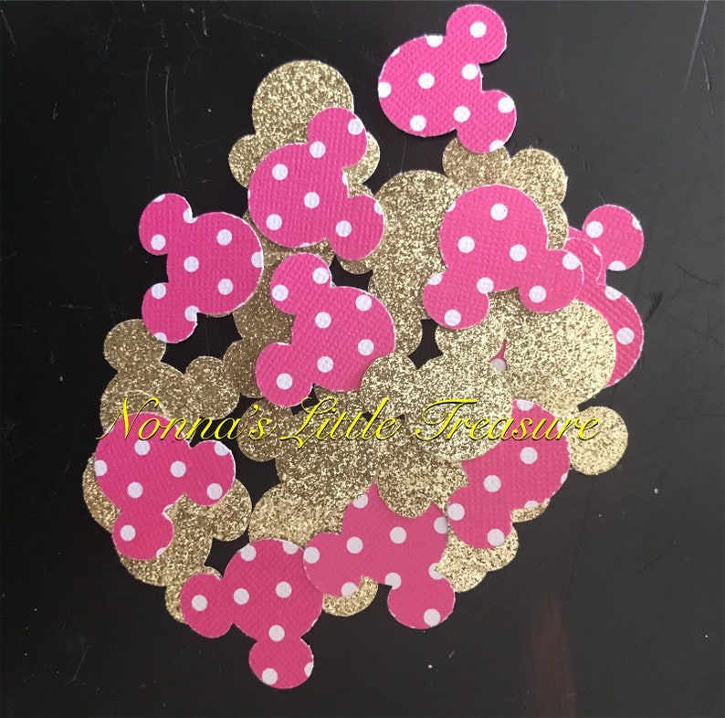 Minnie Mouse Confetti,Hot Pink Polka Dots And Gold Minnie Mouse Confetti,Pink And Gold Minnie Mouse Confetti,First Birthday,Baby Shower