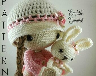 April and her Rabbit- Amigurumi Doll Crochet Pattern PDF