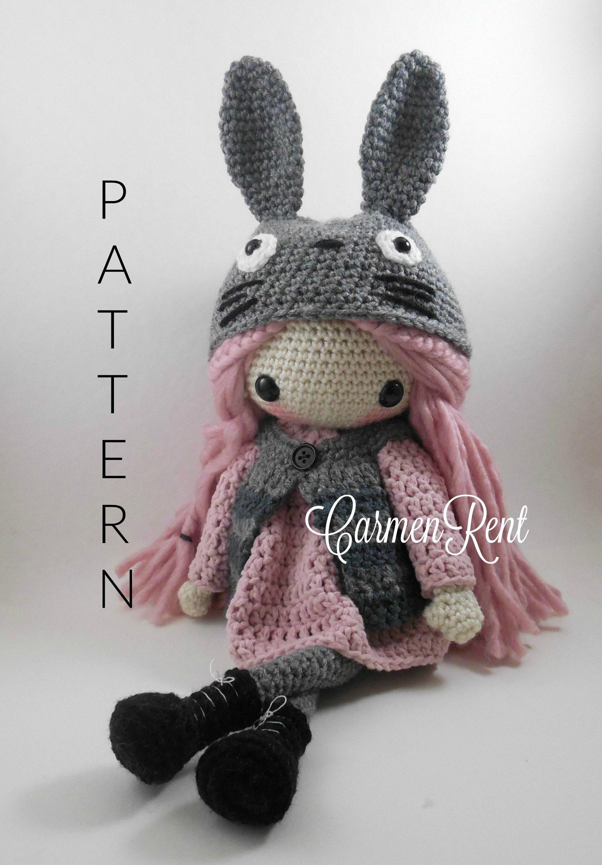 Lindsey and her Totoro Hat Amigurumi Doll Crochet Pattern PDF  3d2fae809b1