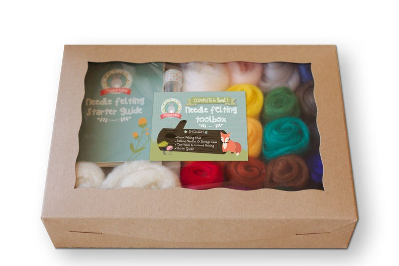 Ideal Gift Wool Felt Tools with 36 Colors Wool Roving Felting Starter Kit with Instructions Needle Felting Wool Set