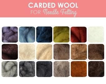 Carded Wool Batt / Sliver - 1oz Carded Sheep Wool | Dyed Felting Wool | Merino Corriedale for Needle Felt