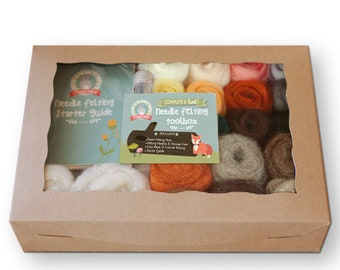 Needle Felting Starter Kit   Natural & Animal Colors   Wool Roving   Beginners Needle Felting Kit   DIY Felting Kit   Felt Amigurumi Kit