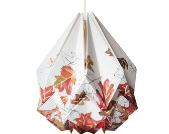 Origami lampshade in paper with autumn pattern, medium size