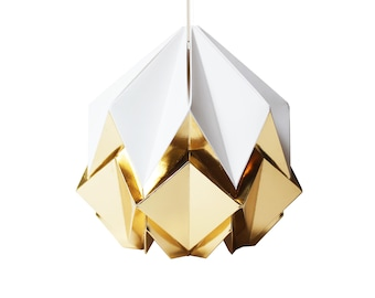 Origami lampshade in white and golden paper, small size