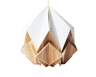 Origami lampshade in white paper and ecowood veneer, small size