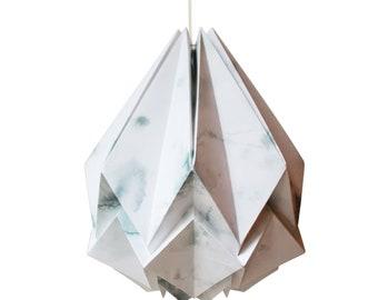Marble winter pattern Pendant light | Original drawings and watercolor  | Origami handmade lampshade