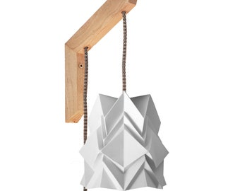 Origami wall lighting fixture - wooden bracket with small paper pendant light